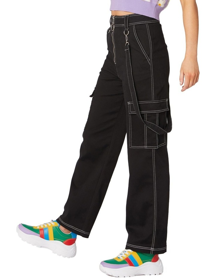 Perky Straight Leg Cargo Pants Black image 2