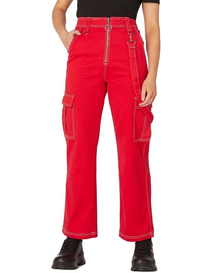Perky Straight Leg Cargo Pants Red image 1