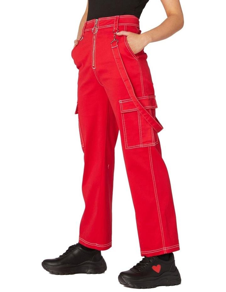 Perky Straight Leg Cargo Pants Red image 2
