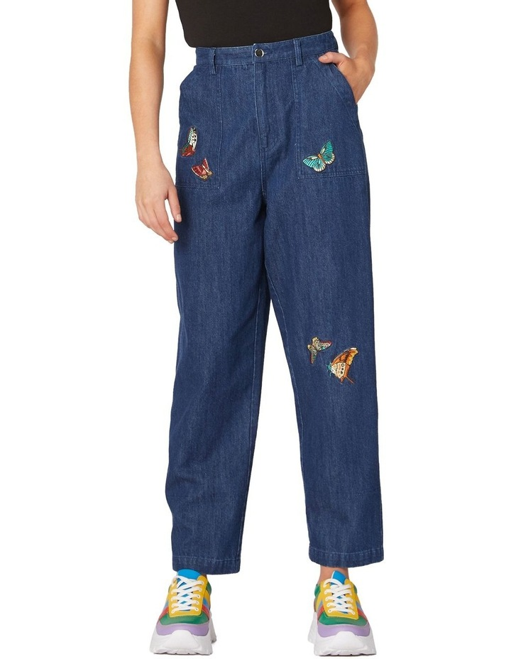 Butterfly Embroidered High-Waisted Jeans Blue image 1