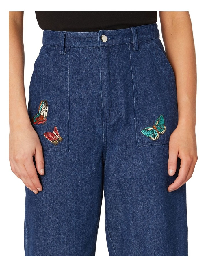 Butterfly Embroidered High-Waisted Jeans Blue image 4