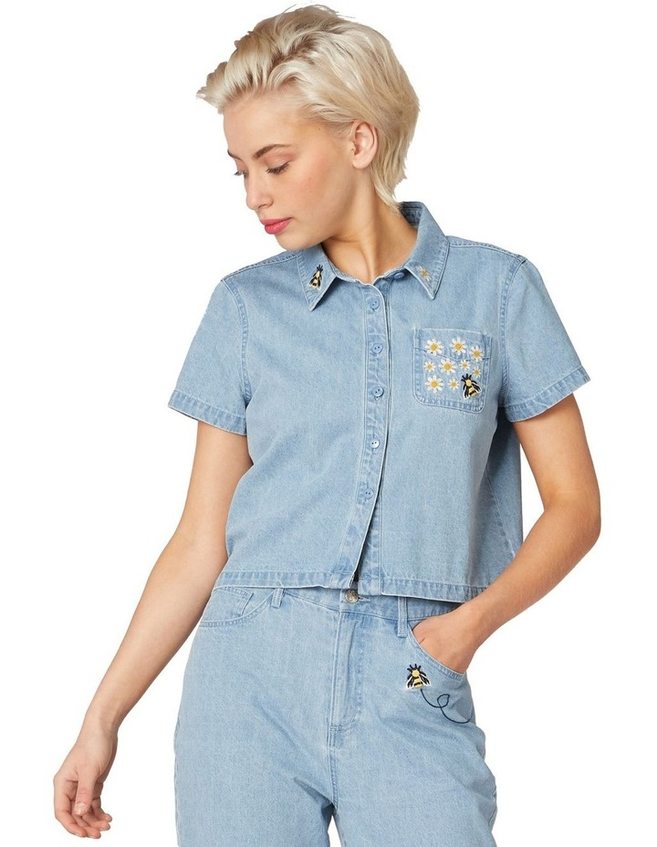 Bee Embroidered Denim Blouse Blue image 1