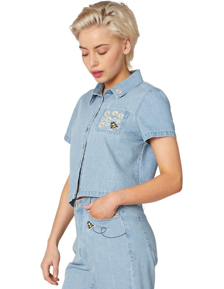 Bee Embroidered Denim Blouse Blue image 2