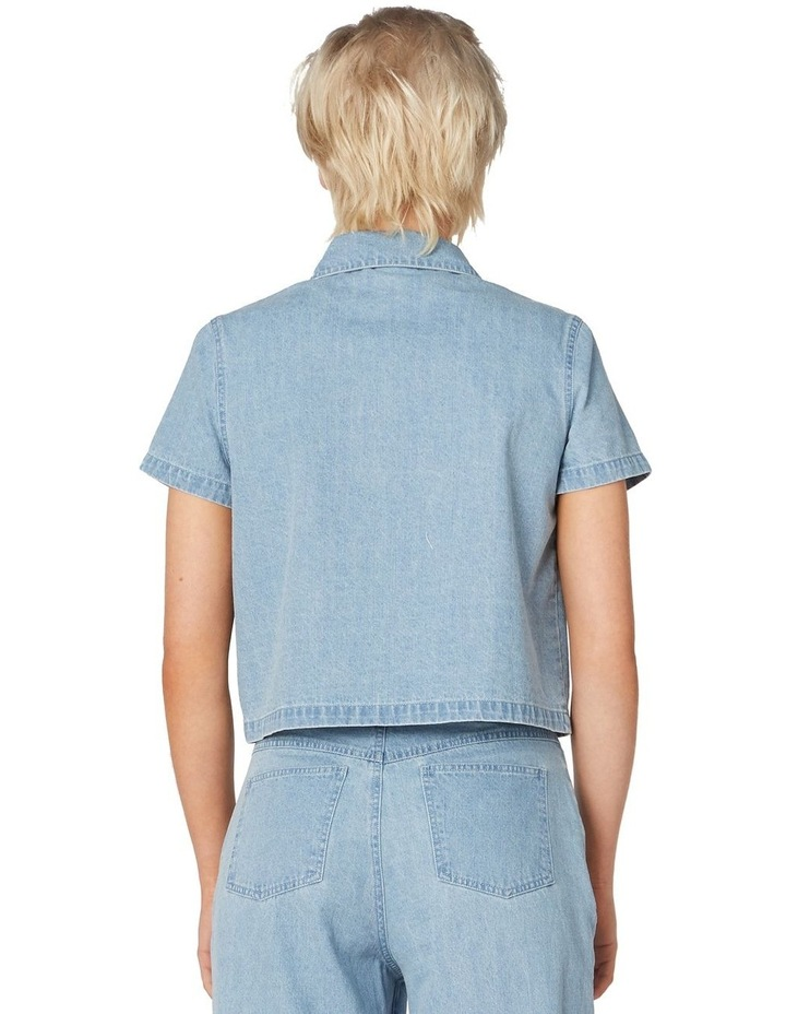 Bee Embroidered Denim Blouse Blue image 3