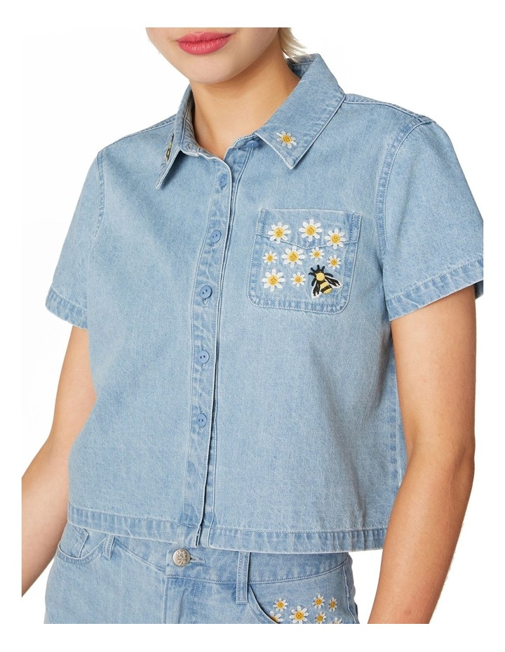 Bee Embroidered Denim Blouse Blue image 4