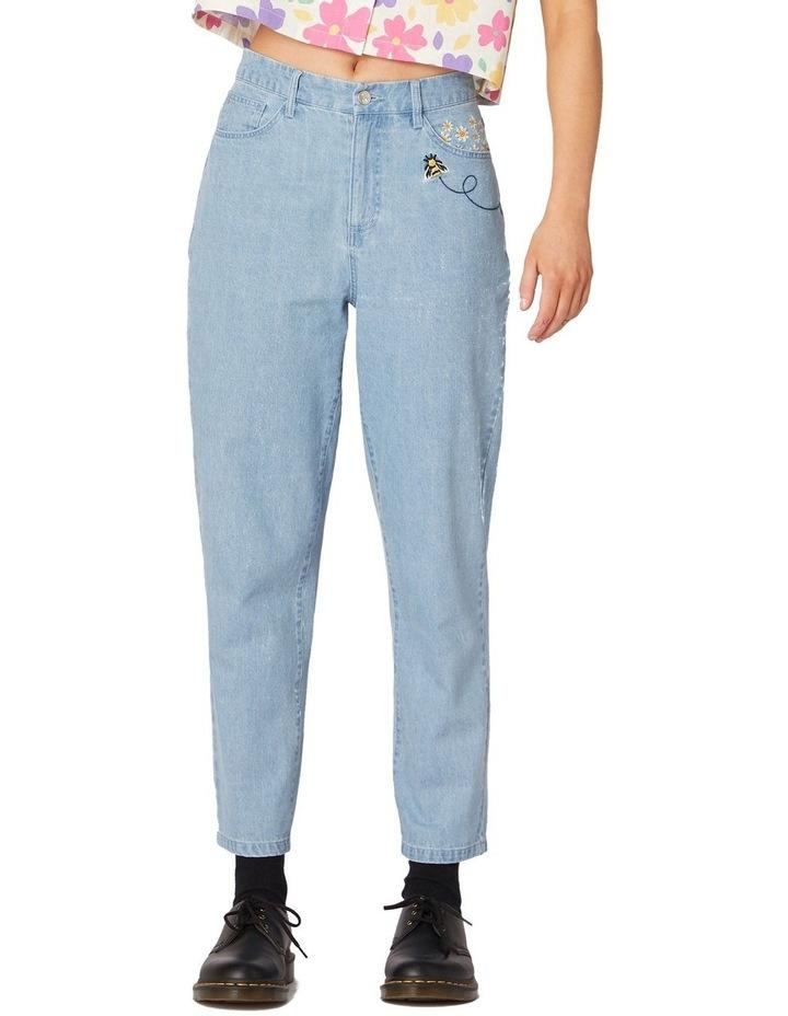 Bee Embroidered Denim Straight Leg Pants Blue image 1