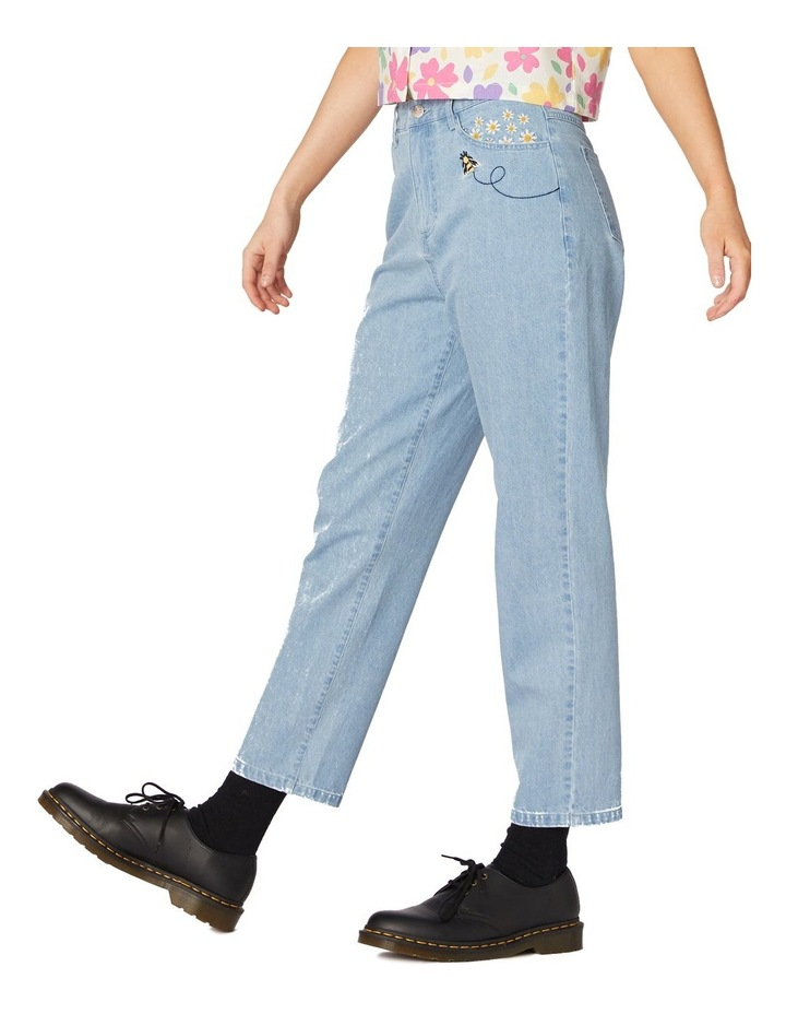 Bee Embroidered Denim Straight Leg Pants Blue image 2