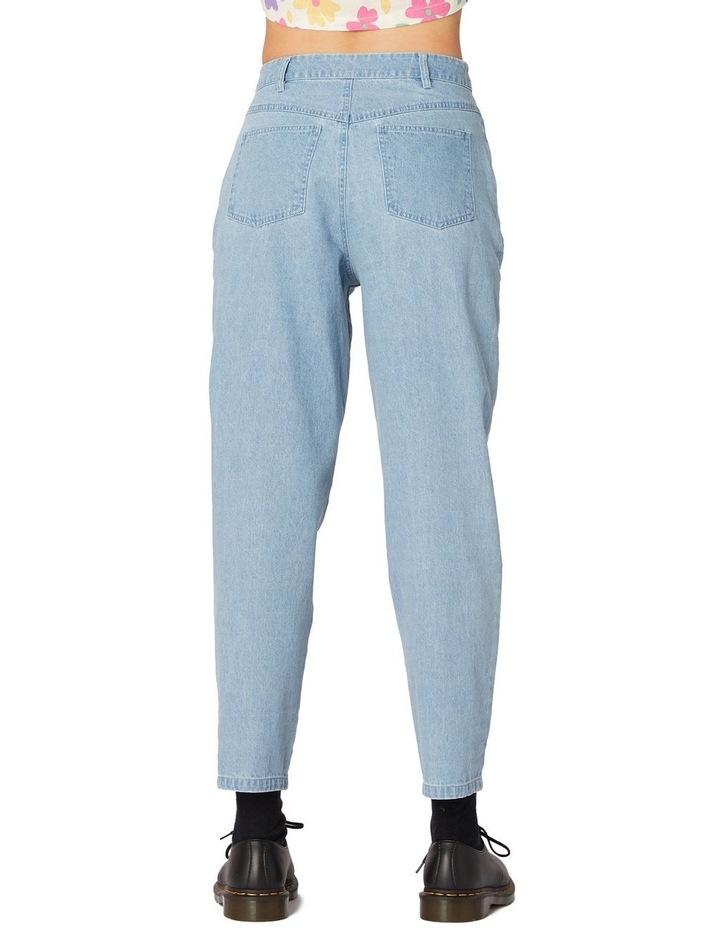 Bee Embroidered Denim Straight Leg Pants Blue image 3