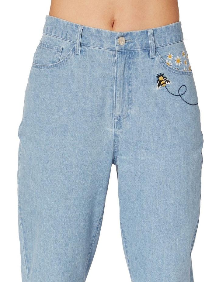 Bee Embroidered Denim Straight Leg Pants Blue image 4