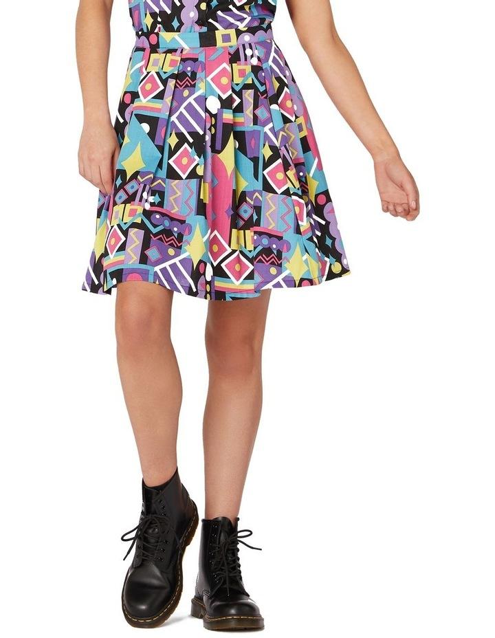 80's Geo Flared Skirt Black image 1