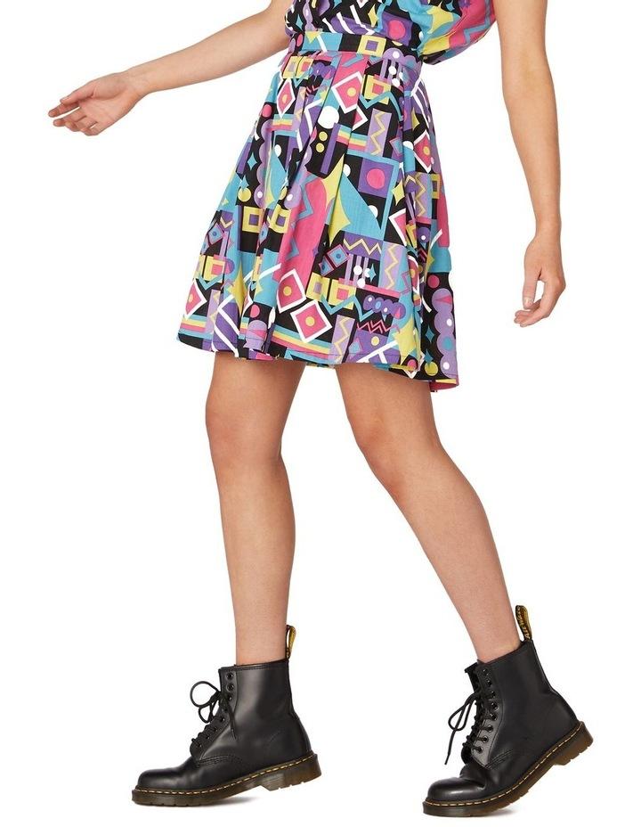 80's Geo Flared Skirt Black image 2