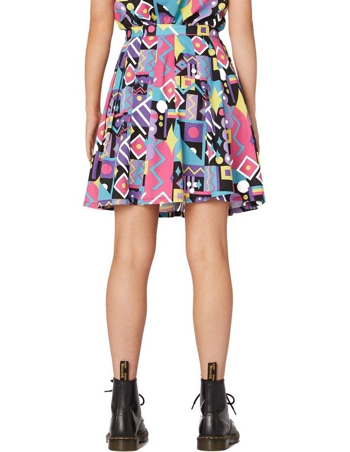 80's Geo Flared Skirt Black image 3