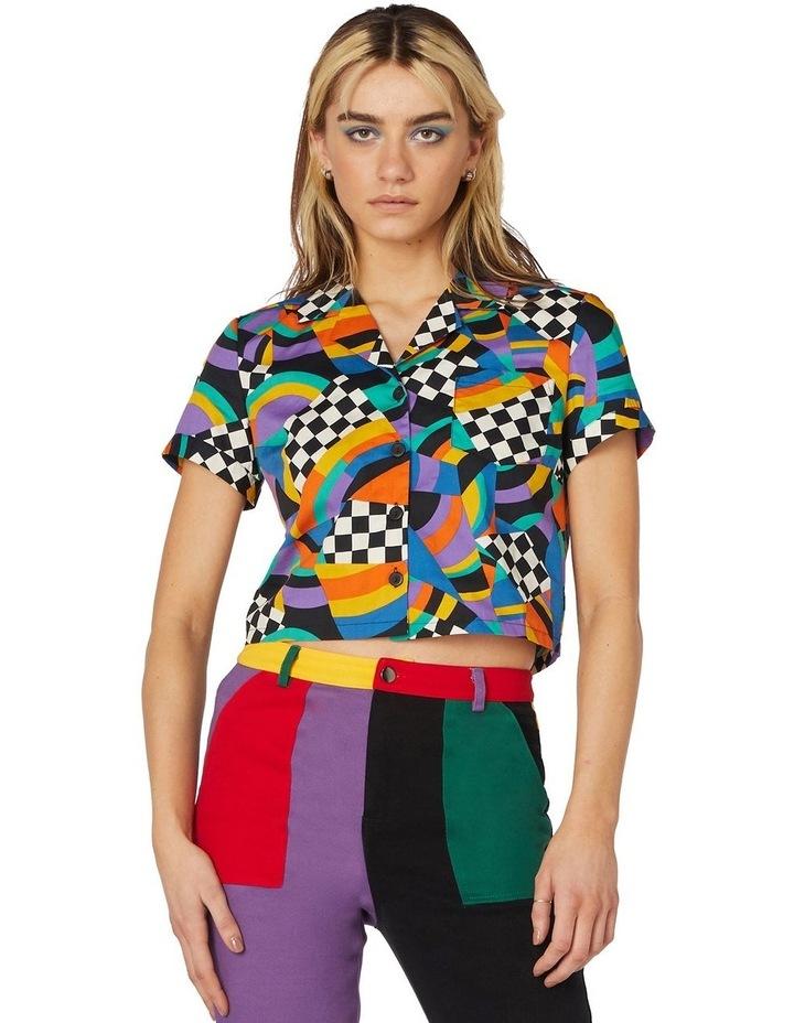 80'S Geo Clue Cotton Blouse Black image 1