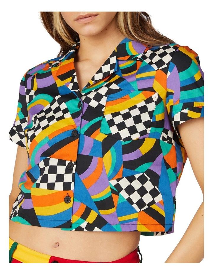 80'S Geo Clue Cotton Blouse Black image 4