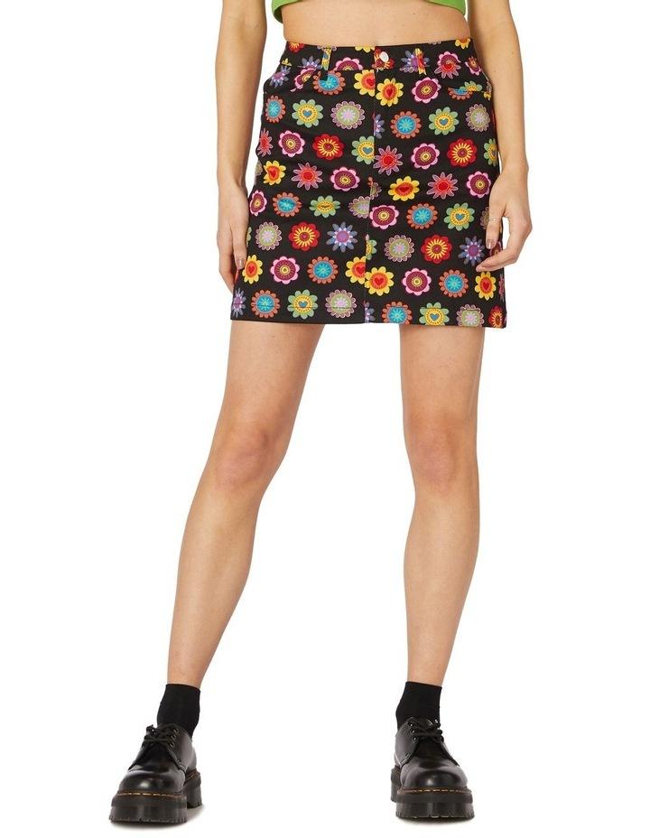Daisy Cotton Drill Mini Skirt Black image 1
