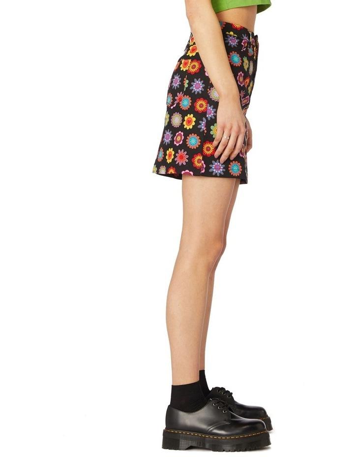 Daisy Cotton Drill Mini Skirt Black image 2