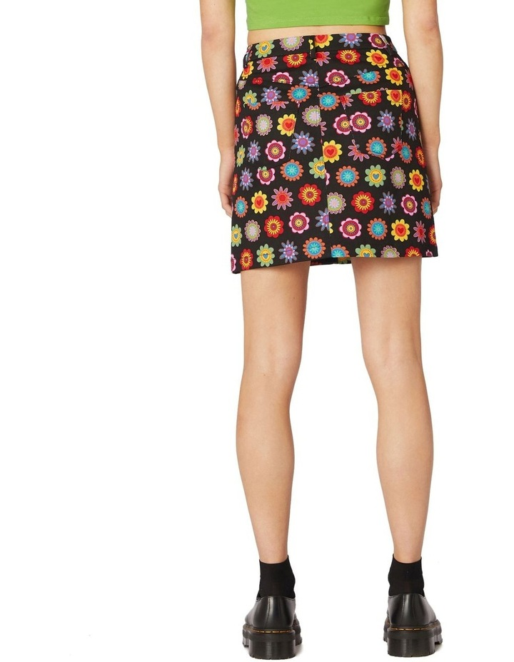 Daisy Cotton Drill Mini Skirt Black image 3