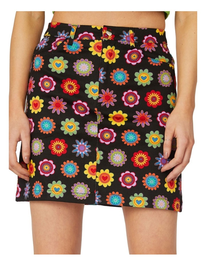 Daisy Cotton Drill Mini Skirt Black image 4