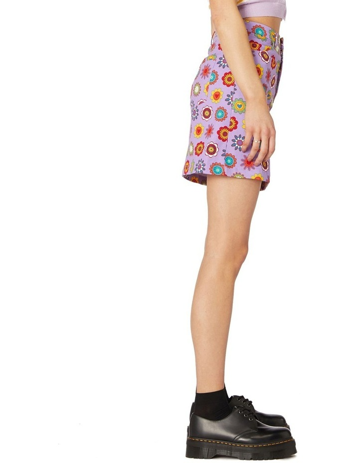 Daisy Cotton Drill Mini Skirt Purple image 2