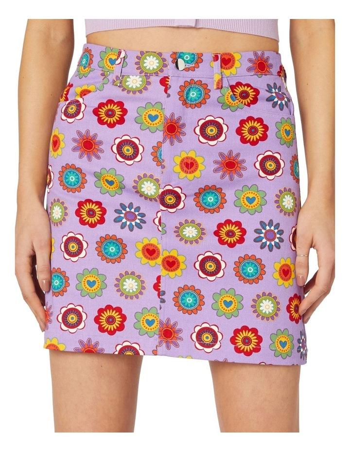 Daisy Cotton Drill Mini Skirt Purple image 4
