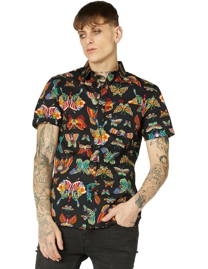 Butterfly Cotton Short Sleeve Shirt Black image 1
