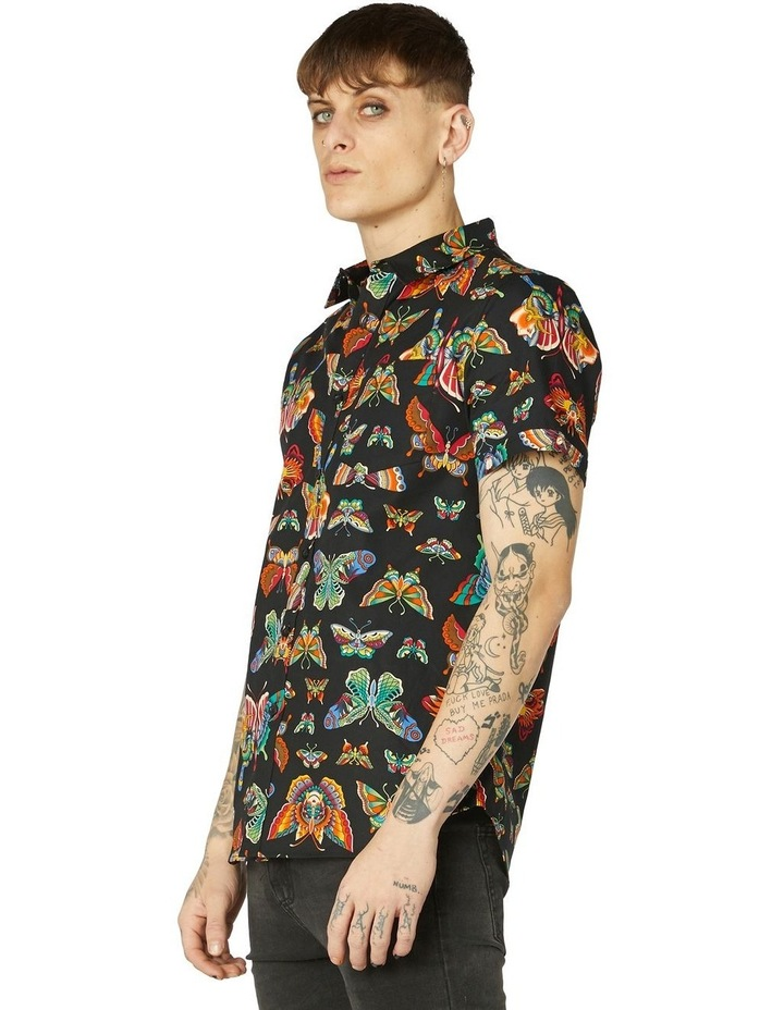 Butterfly Cotton Short Sleeve Shirt Black image 2