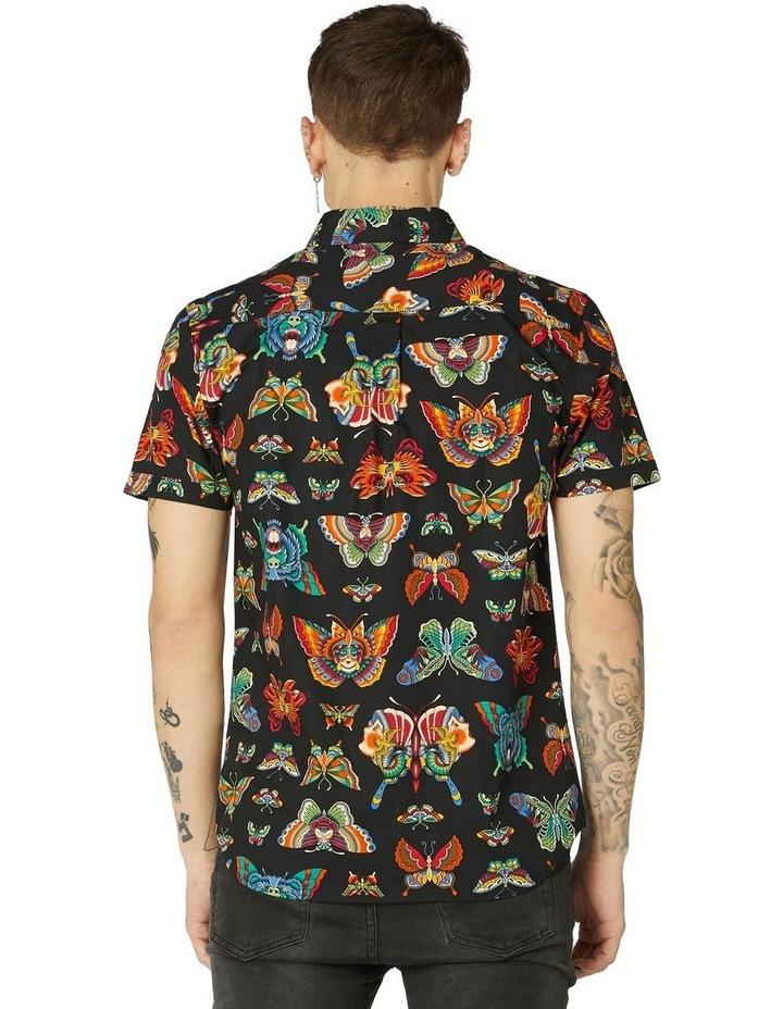 Butterfly Cotton Short Sleeve Shirt Black image 3
