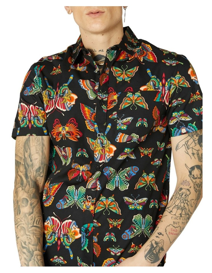 Butterfly Cotton Short Sleeve Shirt Black image 4
