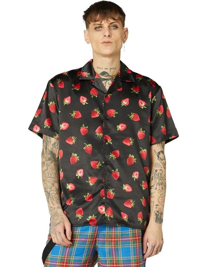 90's Strawberry Satin Short Sleeve Shirt image 1