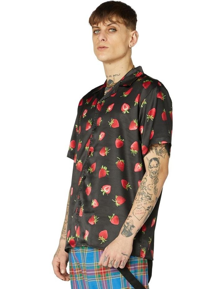 90's Strawberry Satin Short Sleeve Shirt image 2