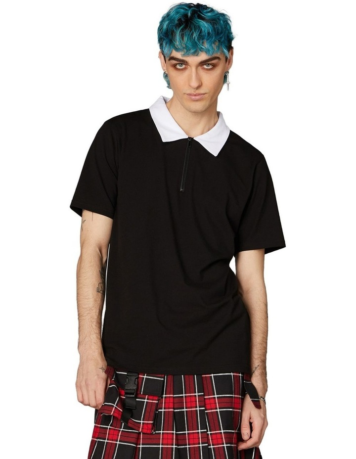 Contrast Collar Short Sleeve Tee Black image 1