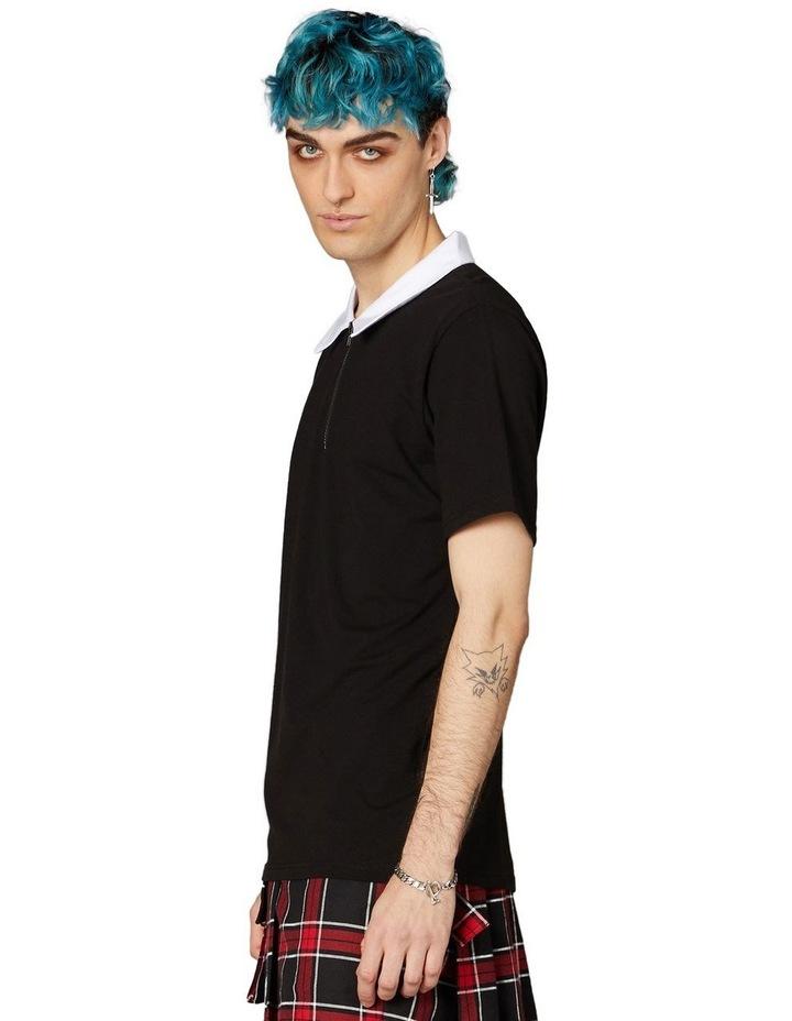 Contrast Collar Short Sleeve Tee Black image 2
