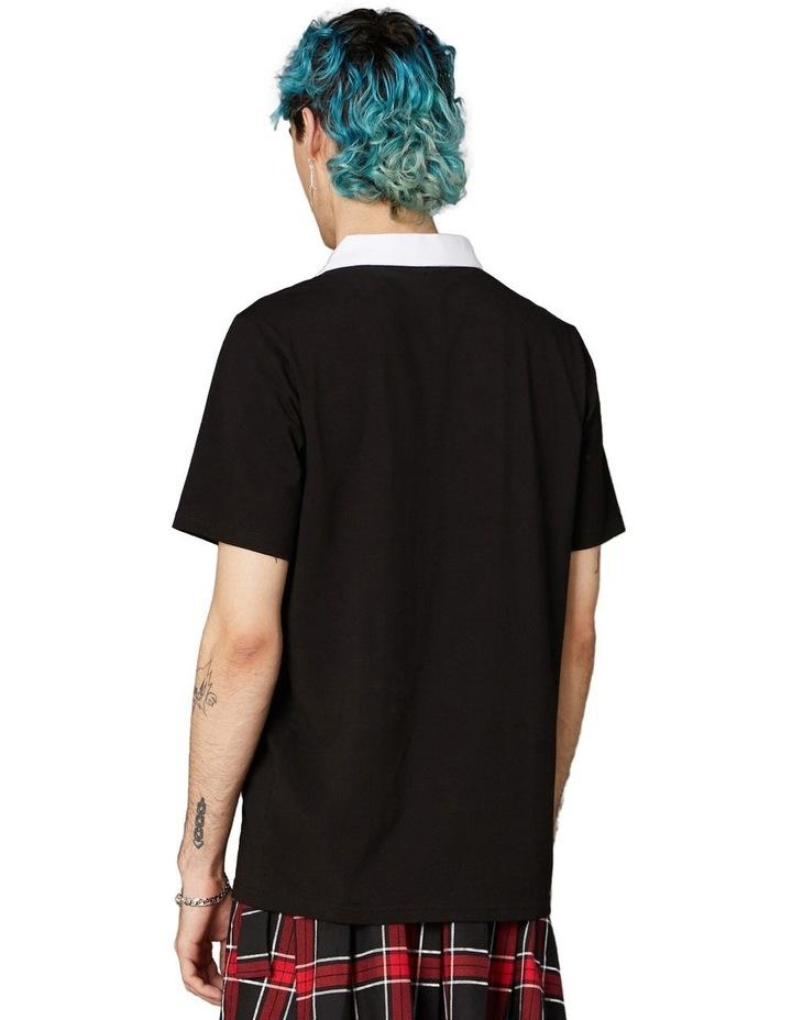 Contrast Collar Short Sleeve Tee Black image 3
