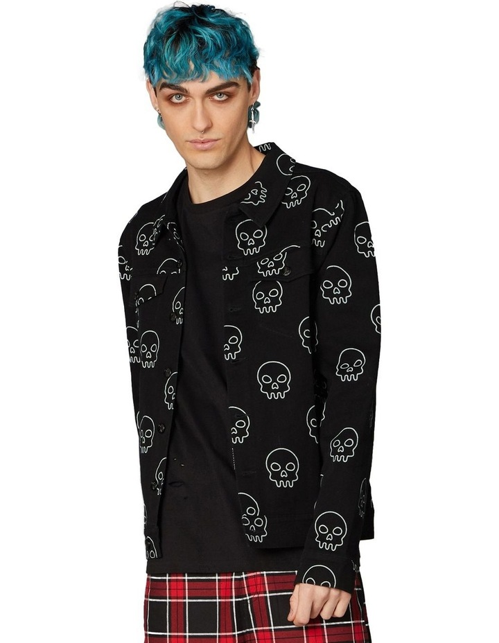 Printed Skull Punk Denim Jacket Black image 1