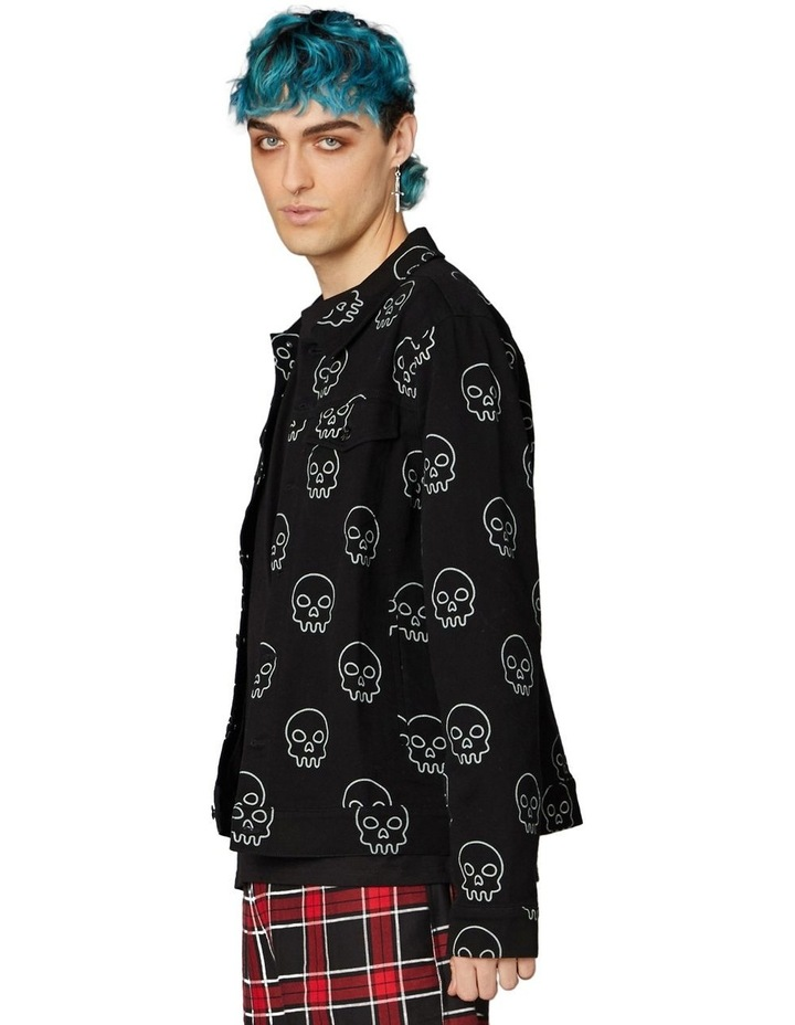 Printed Skull Punk Denim Jacket Black image 2