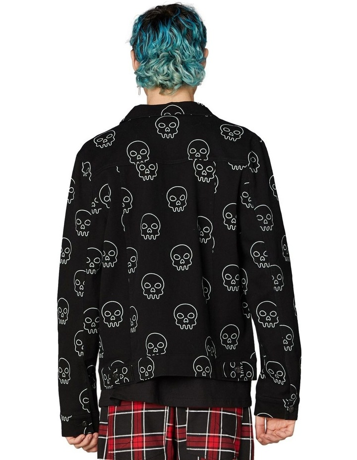 Printed Skull Punk Denim Jacket Black image 3