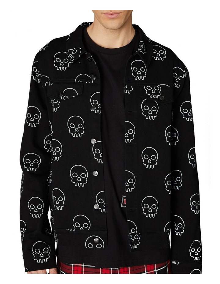 Printed Skull Punk Denim Jacket Black image 4