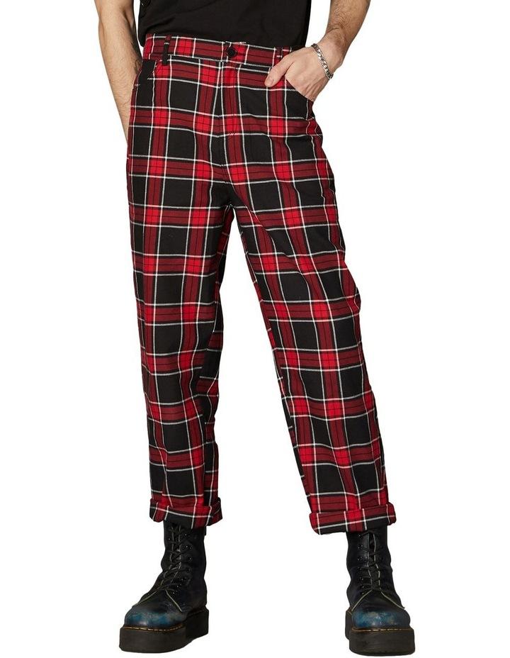 Goth Tartan Straight Leg Pants Red image 1