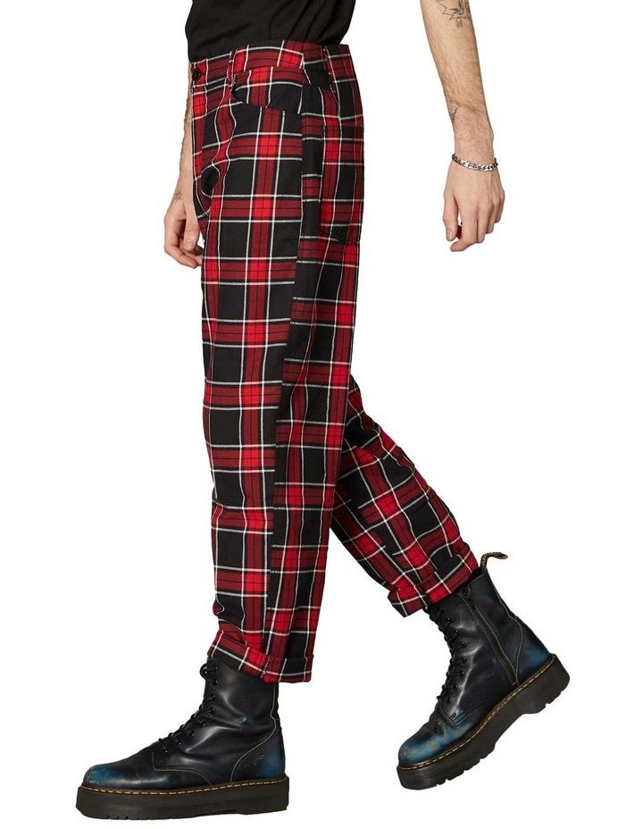 Goth Tartan Straight Leg Pants Red image 2