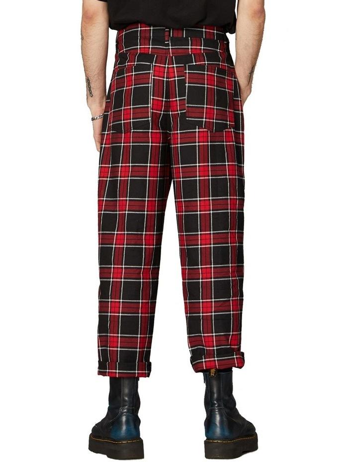 Goth Tartan Straight Leg Pants Red image 3