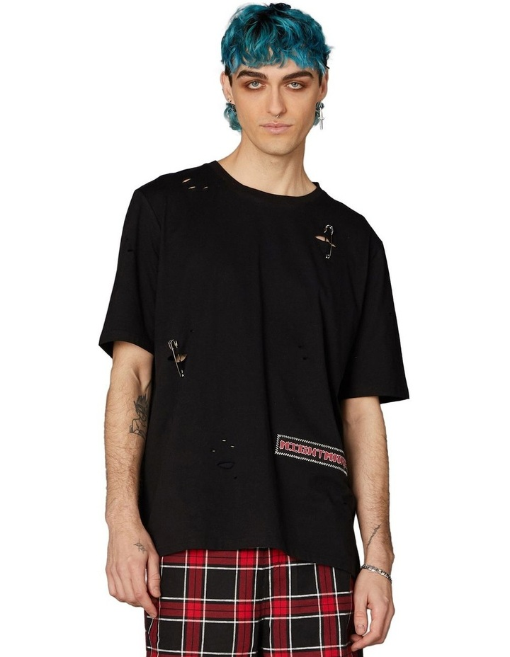 Distressed Patch Oversized Tee Black image 1