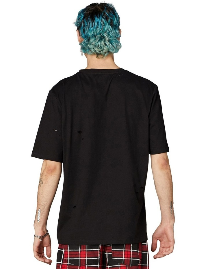 Distressed Patch Oversized Tee Black image 3