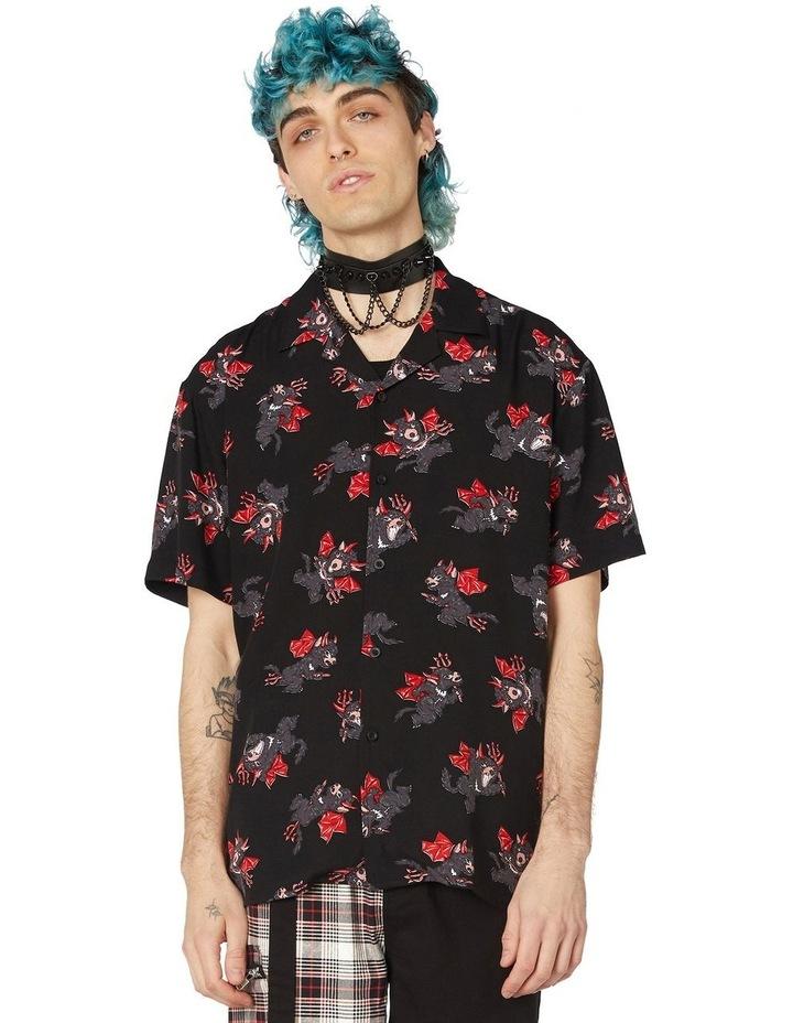Devil Viscose Short Sleeve Shirt Black image 1