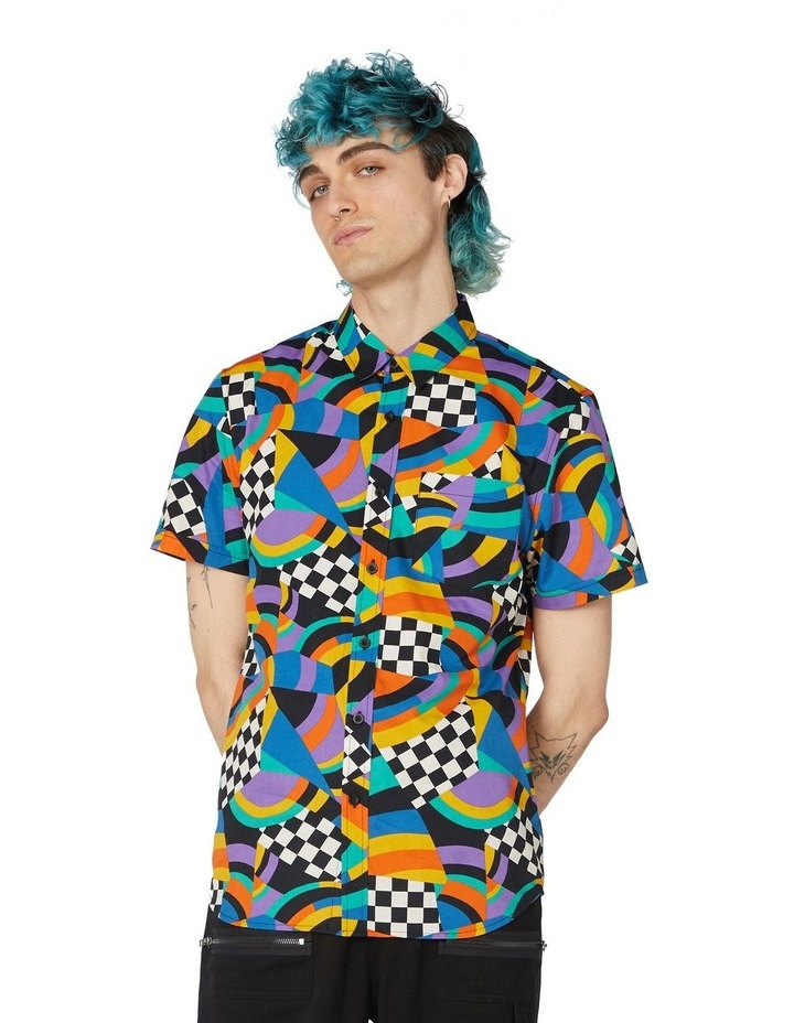 80'S Geo Clue Cotton Short Sleeve Shirt Blue image 1