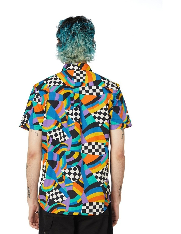 80'S Geo Clue Cotton Short Sleeve Shirt Blue image 3