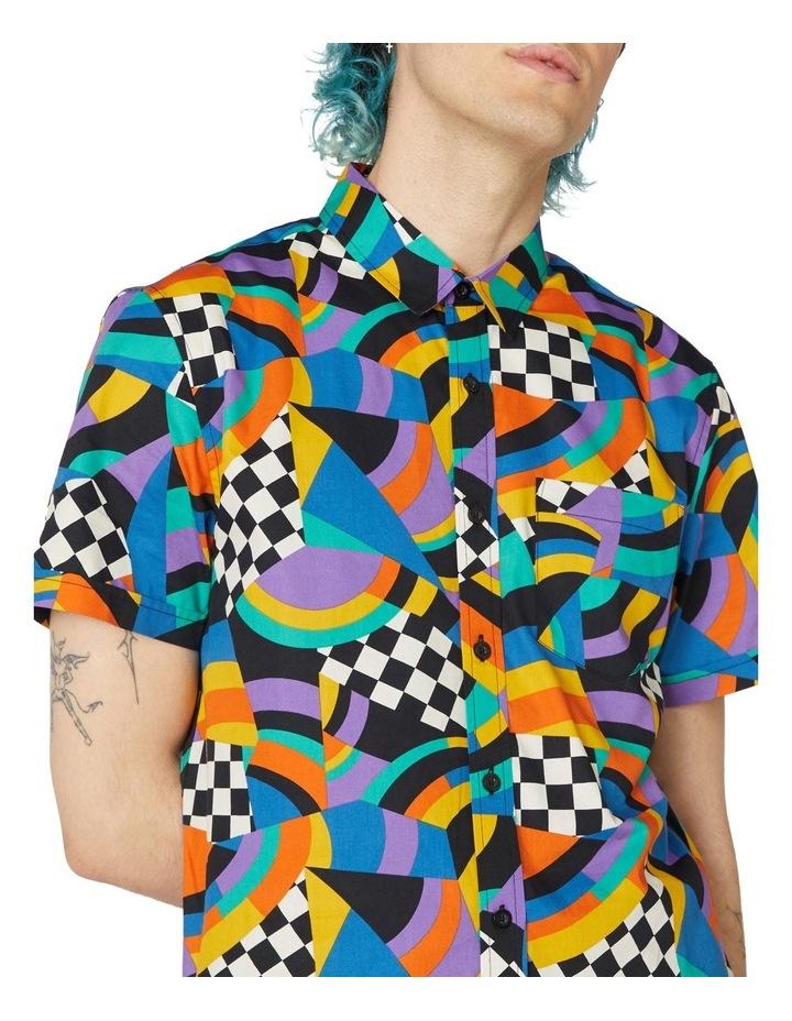 80'S Geo Clue Cotton Short Sleeve Shirt Blue image 4