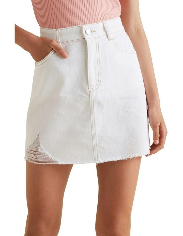Distress A Line Denim Skirt image 1
