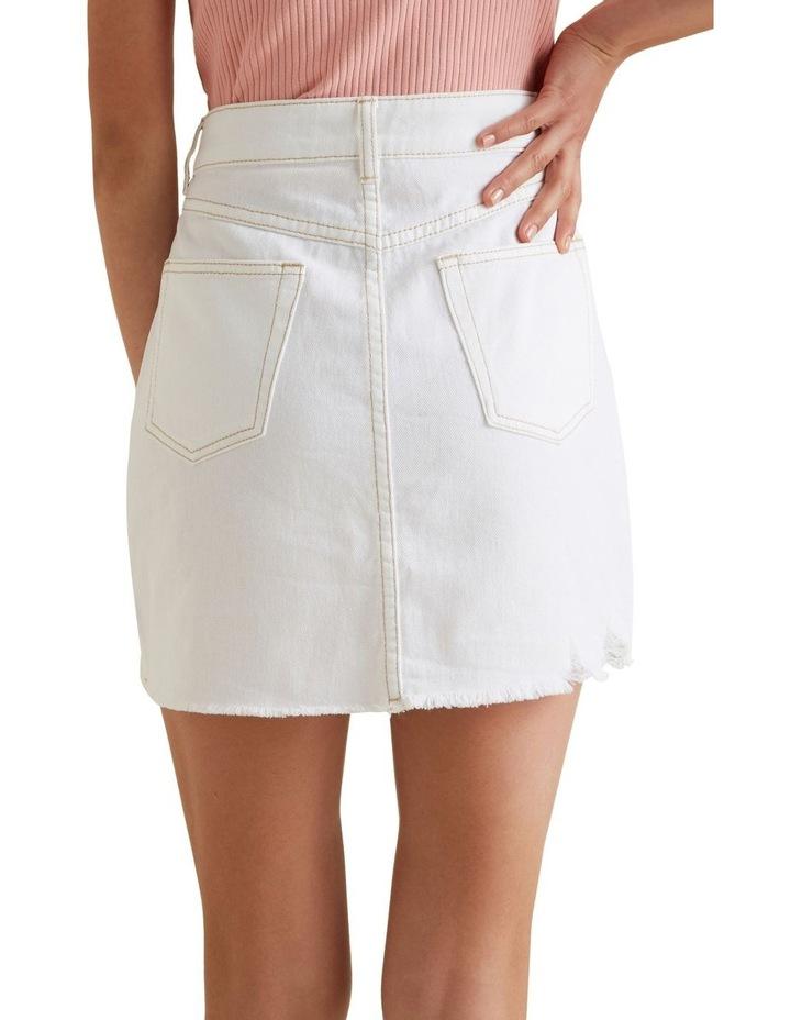 Distress A Line Denim Skirt image 3