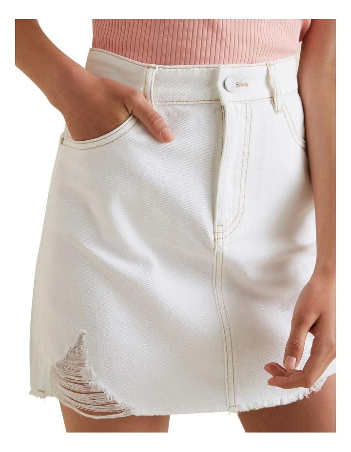 Distress A Line Denim Skirt image 4