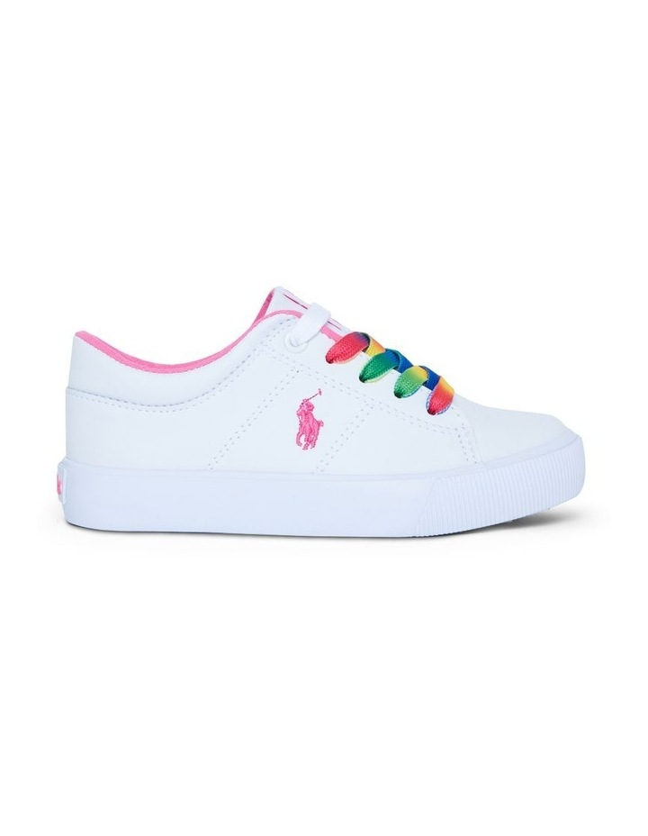 Elmwood Tumbled Youth White and Pink Sneakers image 1